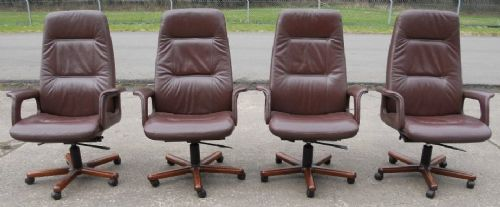 Set of Four Leather Swivel Executive Desk Armchairs